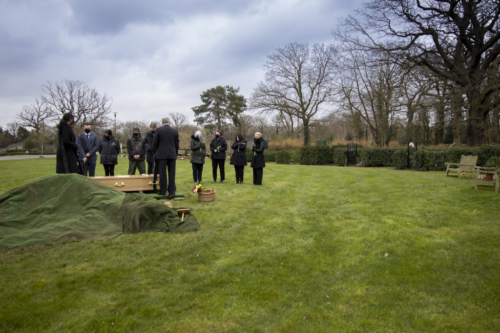 A coffin burial at a GreenAcres Park, frequently chosen by people of different religious and non-religious backgrounds